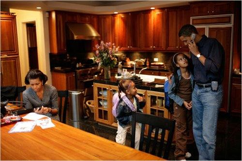 Obamas in Kitchen